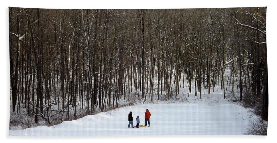 Sledding Hand Towel featuring the photograph Bottom Of The Sled Hill by Linda Kerkau