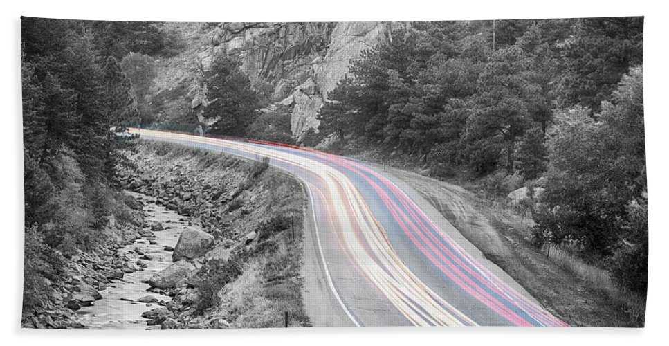 Night Bath Sheet featuring the photograph Boulder Canyon Drive And Selective Commute by James BO Insogna