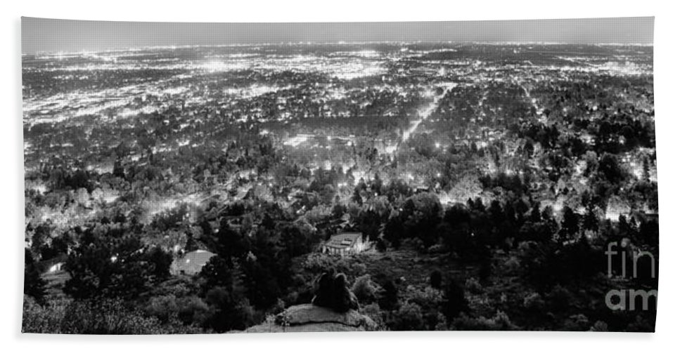 Cityscape Hand Towel featuring the photograph Boulder Colorado City Lights Panorama Black And White by James BO Insogna
