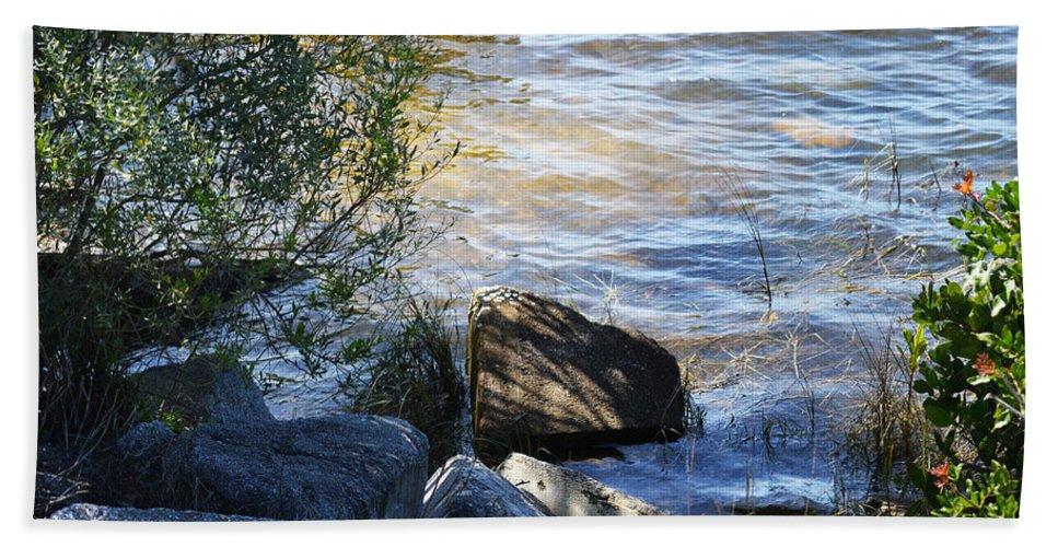 Lake Hand Towel featuring the photograph Boulder by Linda Kerkau