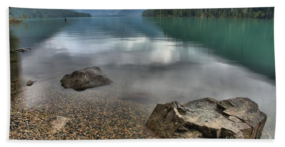Cheakamus Lake Bath Sheet featuring the photograph Boulders On The Edge Of Cheakamus Lake by Adam Jewell