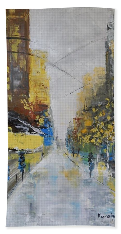 Boulevard Bath Sheet featuring the painting Boulevard by Maria Karalyos