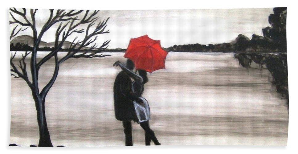Love Valentine Romance Romantic Bath Towel featuring the painting Bound by Love by Manjiri Kanvinde