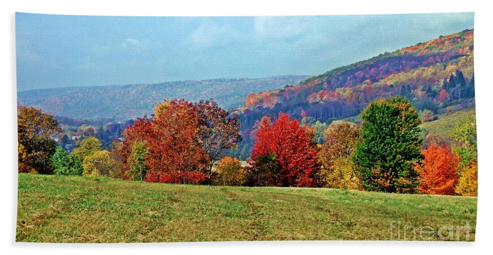 Western Ny State Hand Towel featuring the photograph Bounty Of The Hills by Christian Mattison