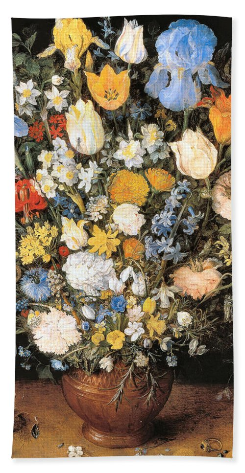 Bouquet In A Clay Vase Hand Towel featuring the digital art Bouquet In A Clay Vase by Jan Brueghel