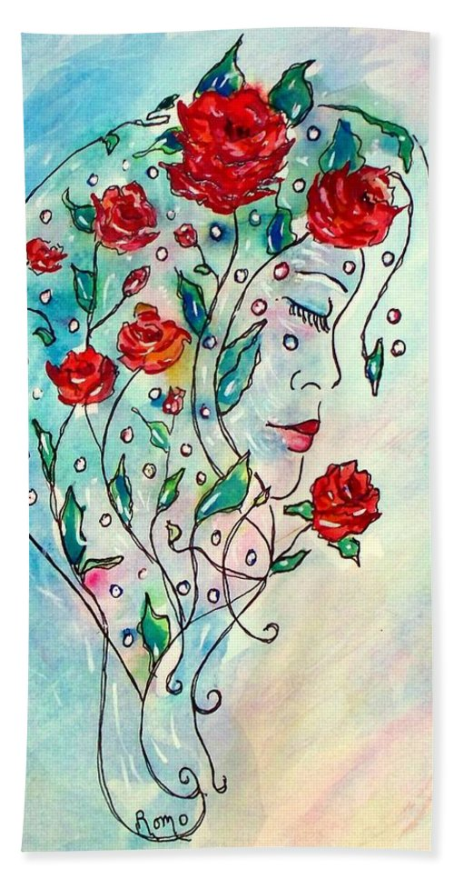 Bouquet Hand Towel featuring the painting Bouquet Of Love by Robin Monroe