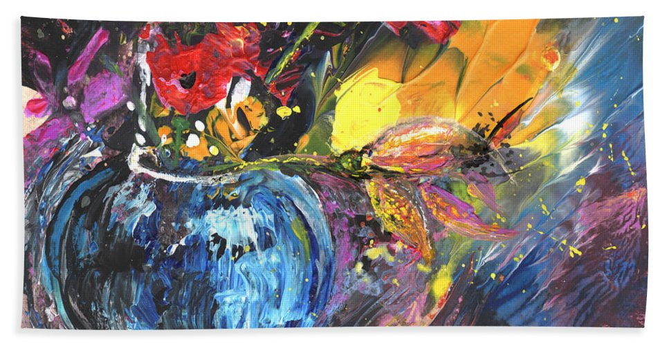 Flowers Hand Towel featuring the painting Bouquet With Black Tulip by Miki De Goodaboom