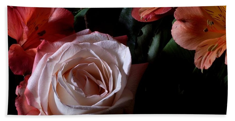 Flowers Hand Towel featuring the photograph Bouquet With Rose by Joe Kozlowski