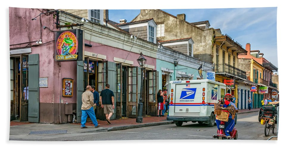 French Quarter Hand Towel featuring the photograph Bourbon Street - Let The Party Begin by Steve Harrington