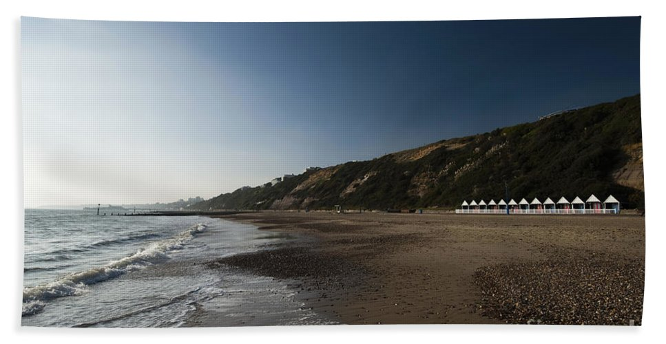 Autumn Bath Sheet featuring the photograph Bournemouth Beach Huts by Anne Gilbert