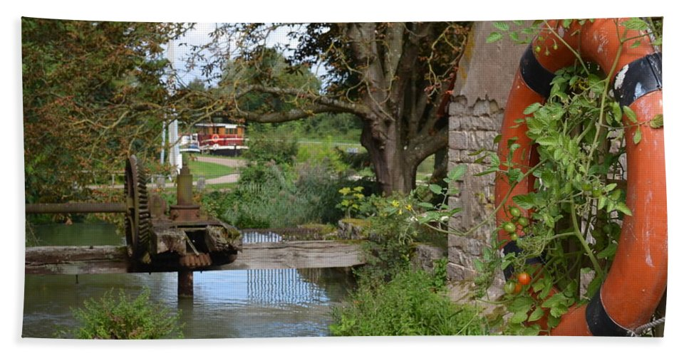 Bouy Hand Towel featuring the photograph Bouy By Canal by Cheryl Miller