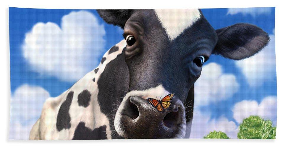Cow Hand Towel featuring the digital art Bovinity by Jerry LoFaro