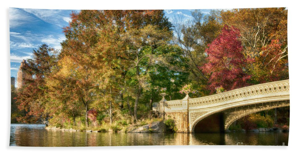 Central Park Bath Sheet featuring the photograph Bow Bridge by Claudia Kuhn