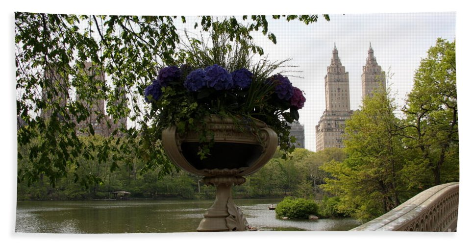 Bow Bridge Bath Sheet featuring the photograph Bow Bridge Flowerpot And San Remo Nyc by Christiane Schulze Art And Photography