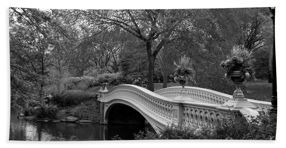 Bridge Hand Towel featuring the photograph Bow Bridge Nyc In Black And White by Christiane Schulze Art And Photography