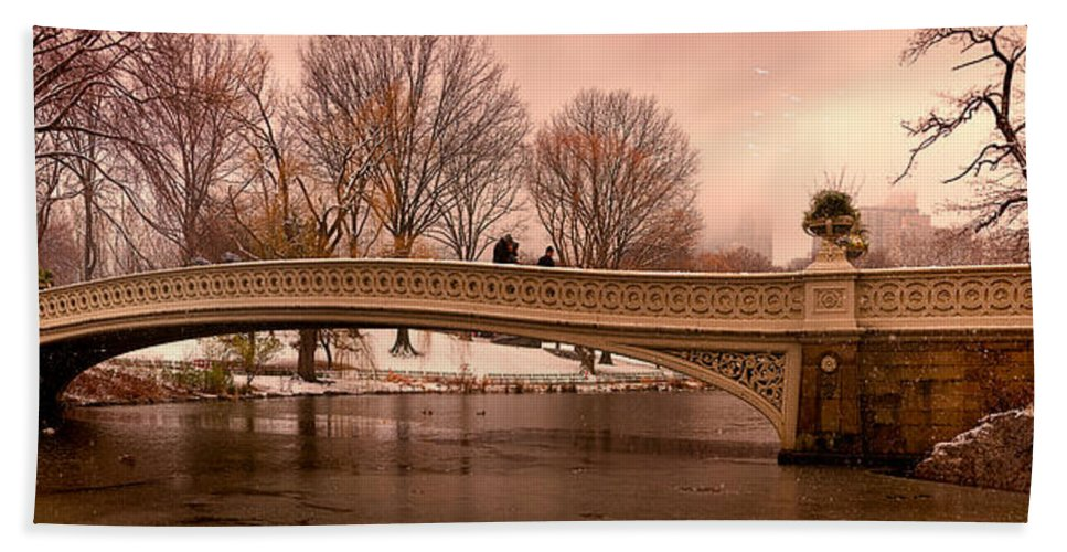 Panorama Hand Towel featuring the photograph Bow Bridge Panorama by Chris Lord