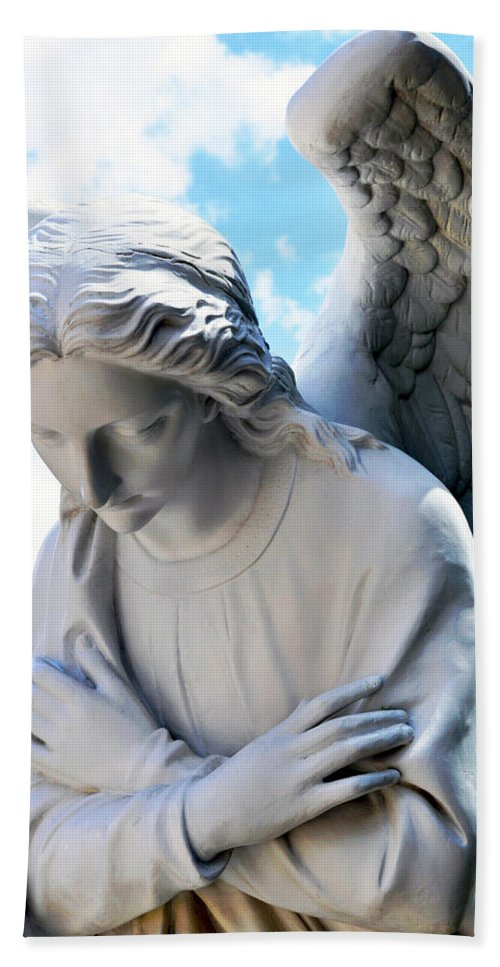 White Hand Towel featuring the photograph Bowing Male Angel With Blue Sky And Clouds by Sally Rockefeller