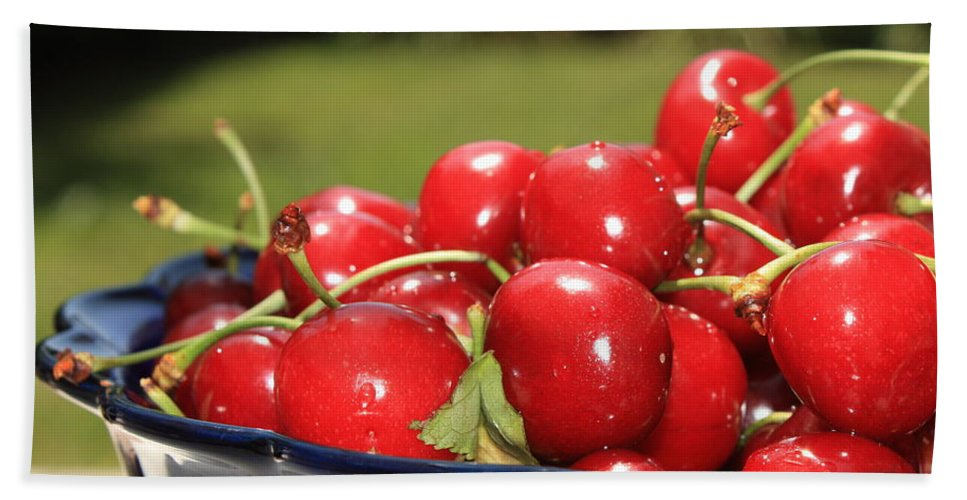 Cherries Bath Towel featuring the photograph Bowl Of Cherries In The Garden by Carol Groenen