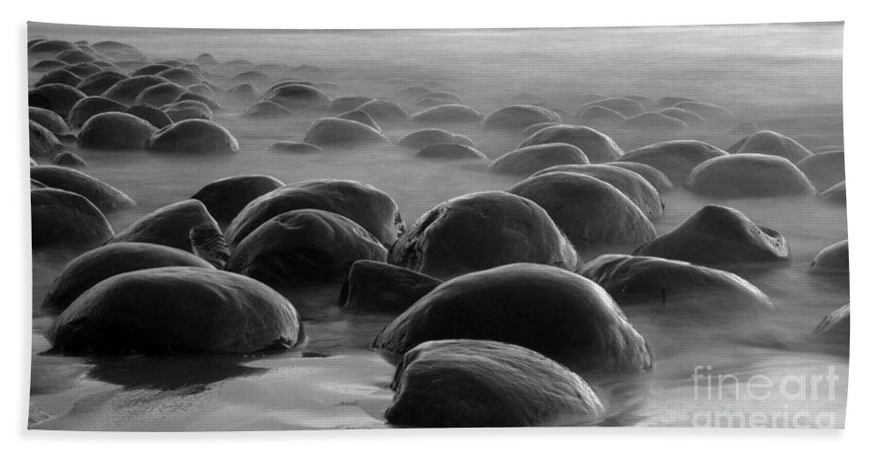Bowling Ball Beach Hand Towel featuring the photograph Bowling Ball Beach Bw by Bob Christopher