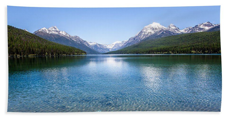 Bowman Hand Towel featuring the photograph Bowman Lake by Aaron Aldrich