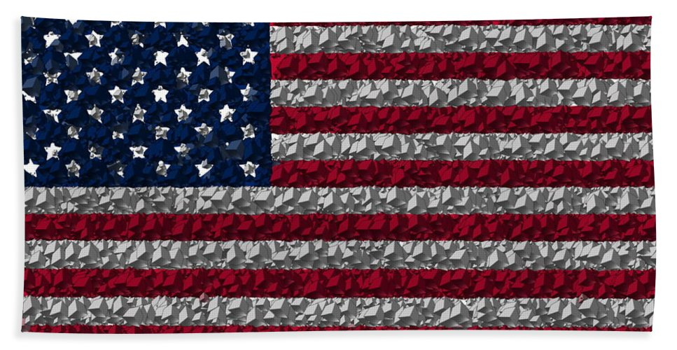 Flag Hand Towel featuring the digital art Boxed Flag by Ron Hedges
