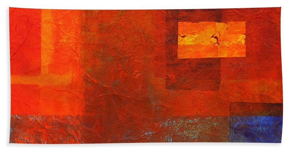 Abstract Bath Sheet featuring the painting Boxed by Nancy Merkle