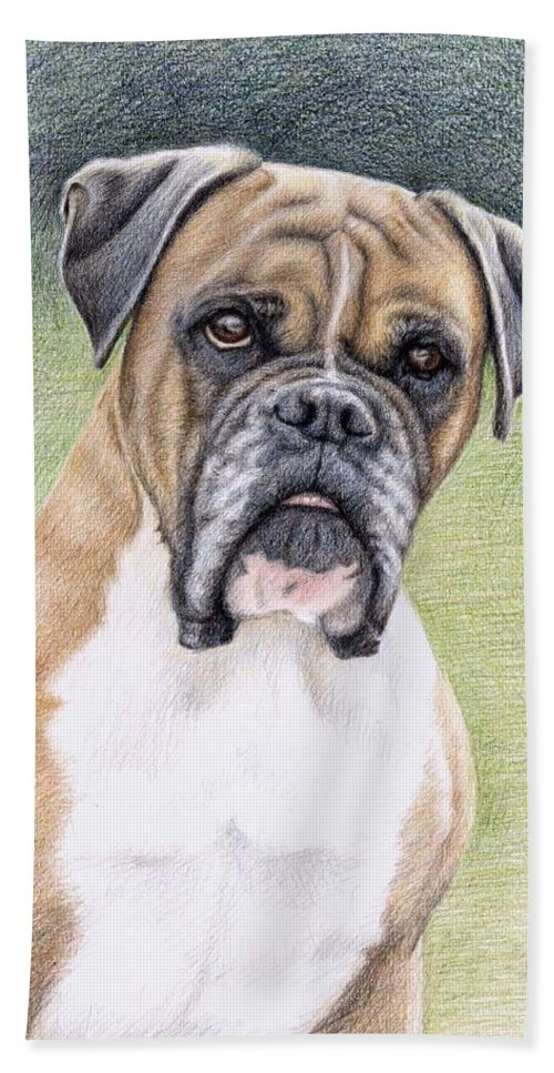 Dog Hand Towel featuring the drawing Boxer Portrait by Nicole Zeug