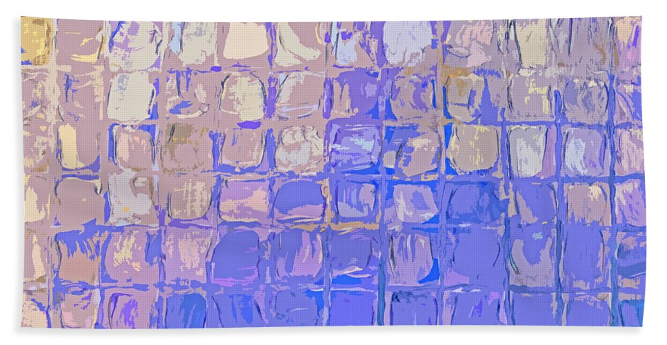 Featured Bath Sheet featuring the digital art Boxes In Purple And Pink by Paulette B Wright