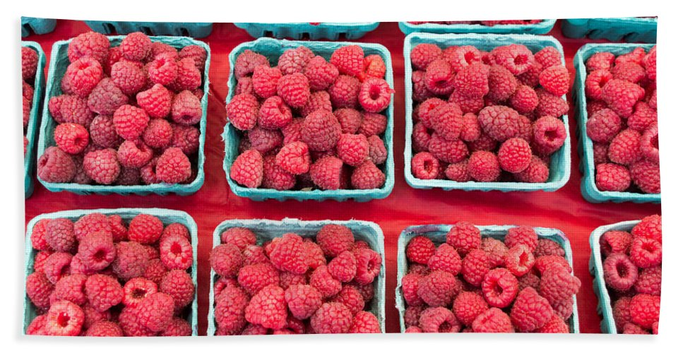 Agriculture Bath Sheet featuring the photograph Boxes Of Fresh Red Raspberries by John Trax