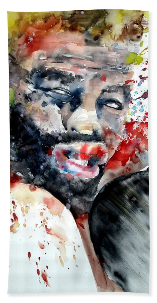 Boxe Hand Towel featuring the painting Boxing II by Fabrizio Cassetta