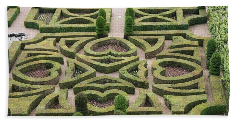Garden Bath Sheet featuring the photograph Boxwood Garden - Chateau Villandry by Christiane Schulze Art And Photography