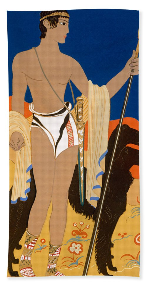 Art Deco Hand Towel featuring the painting Boy Warrior With Two Borzoi Hounds by Francois-Louis Schmied