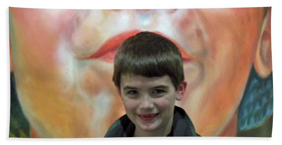 Portrait Bath Sheet featuring the photograph Boy With His Portrait by Lauren Leigh Hunter Fine Art Photography