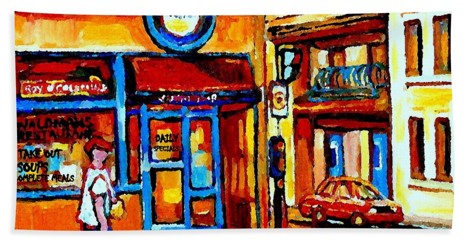 Montreal Fruit Store Hand Towel featuring the painting Boy With Steinbergs Bag Near Waldmans Market Paintings Colonial St Vintage Montreal Art C Spandau by Carole Spandau