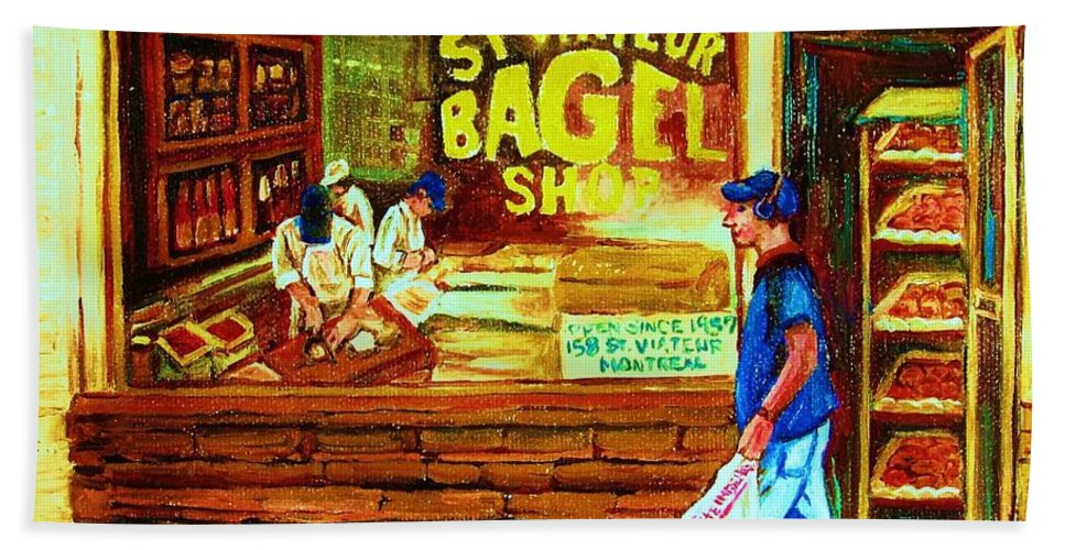 St.viateur Bagel Bath Sheet featuring the painting Boy With The Steinbergs Bag by Carole Spandau