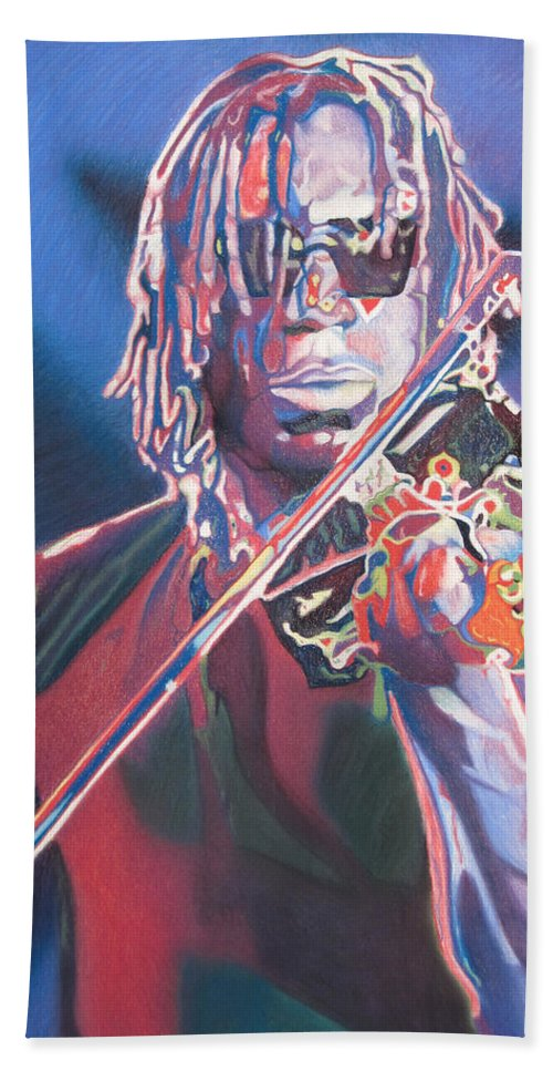 Boyd Tinsley Hand Towel featuring the drawing Boyd Tinsley Colorful Full Band Series by Joshua Morton