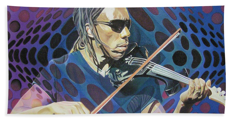 Boyd Tinsley Hand Towel featuring the drawing Boyd Tinsley Pop-op Series by Joshua Morton