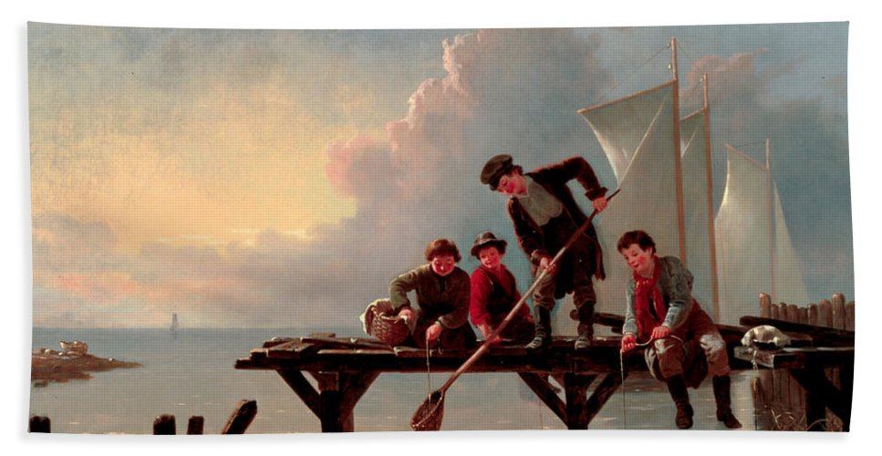 William Ranney Hand Towel featuring the painting Boys Crabbing by William Ranney
