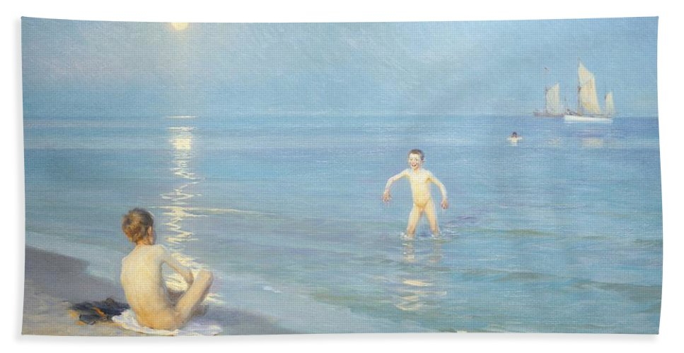 Painting; 19th Century Painting; Seasons; Europe; Denmark; Kroyer Peter Severin; Bather; Summer; Impressionism Bath Sheet featuring the painting Boys On The Seashore In A Summer Night At Skagen 1899 by Peder Severin Kroyer
