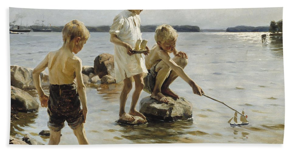 Albert Edelfelt Hand Towel featuring the painting Boys Playing On The Shore by Albert Edelfelt