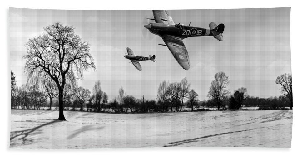 Spitfire Bath Sheet featuring the photograph Low-flying Spitfires Black And White Version by Gary Eason