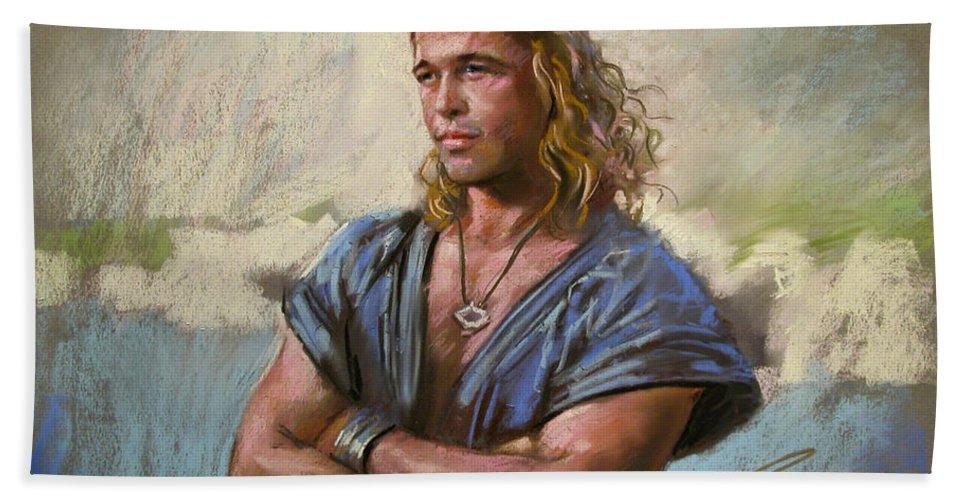 American Actor Bath Sheet featuring the drawing Brad Pitt Troy by Viola El