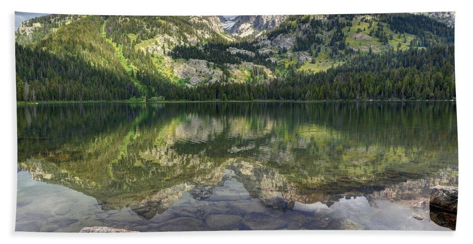 Grand Teton Bath Sheet featuring the photograph Bradley Lake Reflection - Grand Teton National Park by Gary Whitton