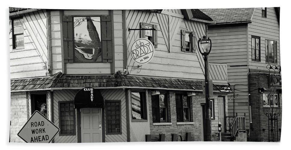 Milwaukee Bath Sheet featuring the photograph Brady Pub by Debbie Nobile