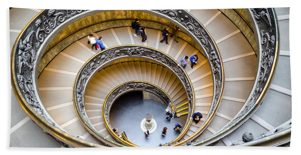 Spiral Hand Towel featuring the photograph Bramante Spiral Staircase In Vatican City by Pablo Lopez