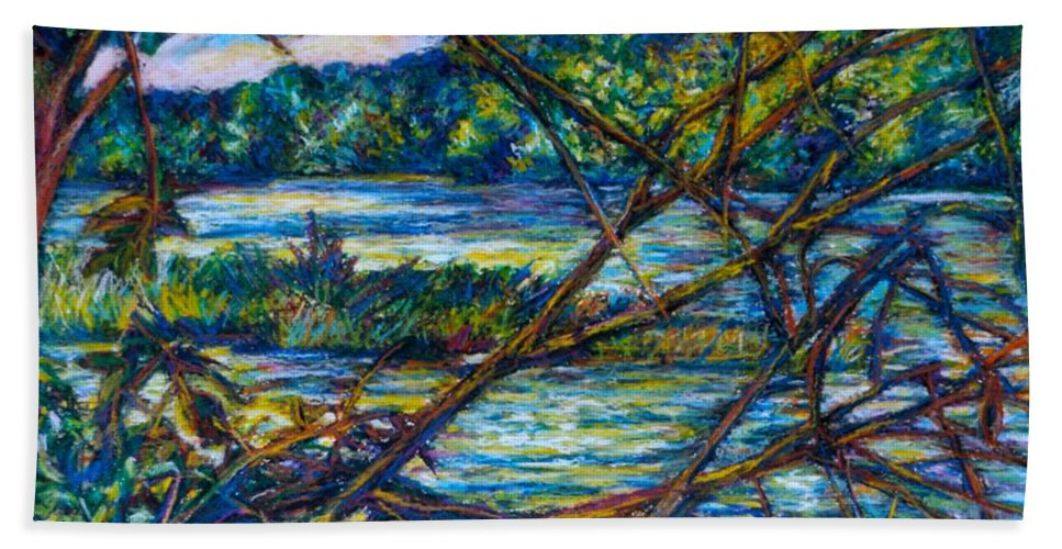 New River Bath Sheet featuring the painting Brances Over The New River by Kendall Kessler