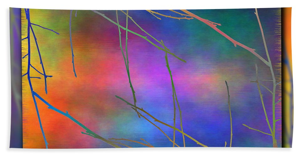 Abstract Hand Towel featuring the digital art Branches In The Mist 15 by Tim Allen