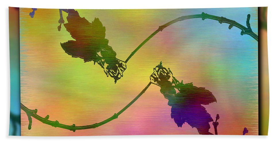 Abstract Hand Towel featuring the digital art Branches In The Mist 44 by Tim Allen