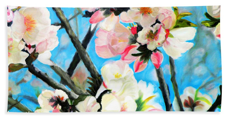 Augusta Stylianou Hand Towel featuring the painting Branches Of Almond Tree by Augusta Stylianou