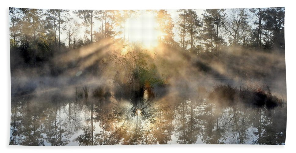 Fog Bath Sheet featuring the photograph Brand New Day by Charlotte Schafer